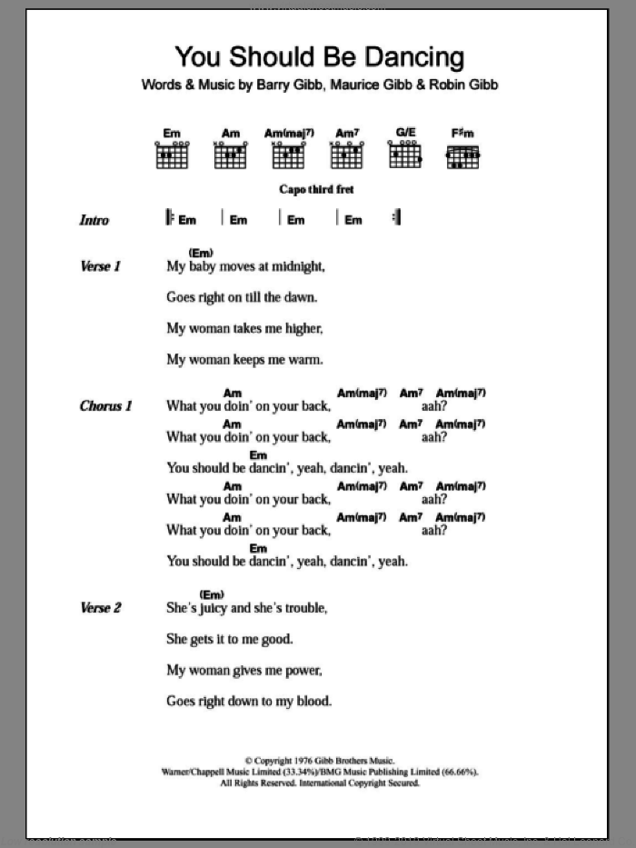You Should Be Dancing sheet music for guitar (chords) by Robin Gibb, Bee Gees, Barry Gibb and Maurice Gibb. Score Image Preview.