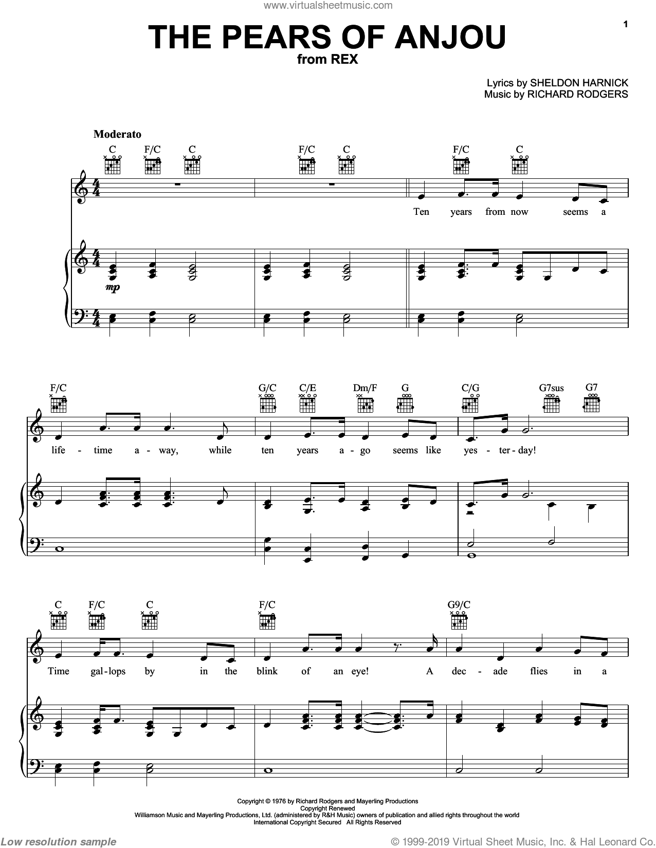 The Pears Of Anjou sheet music for voice, piano or guitar by Richard Rodgers and Sheldon Harnick, intermediate. Score Image Preview.