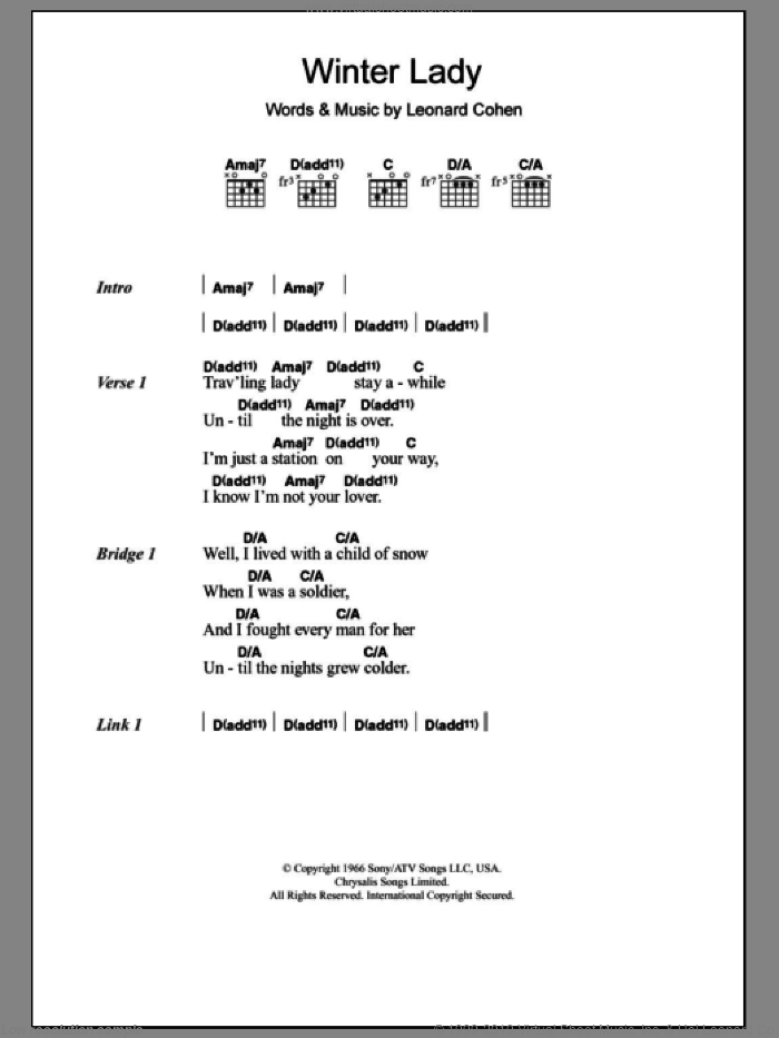 Winter Lady sheet music for guitar (chords) by Leonard Cohen