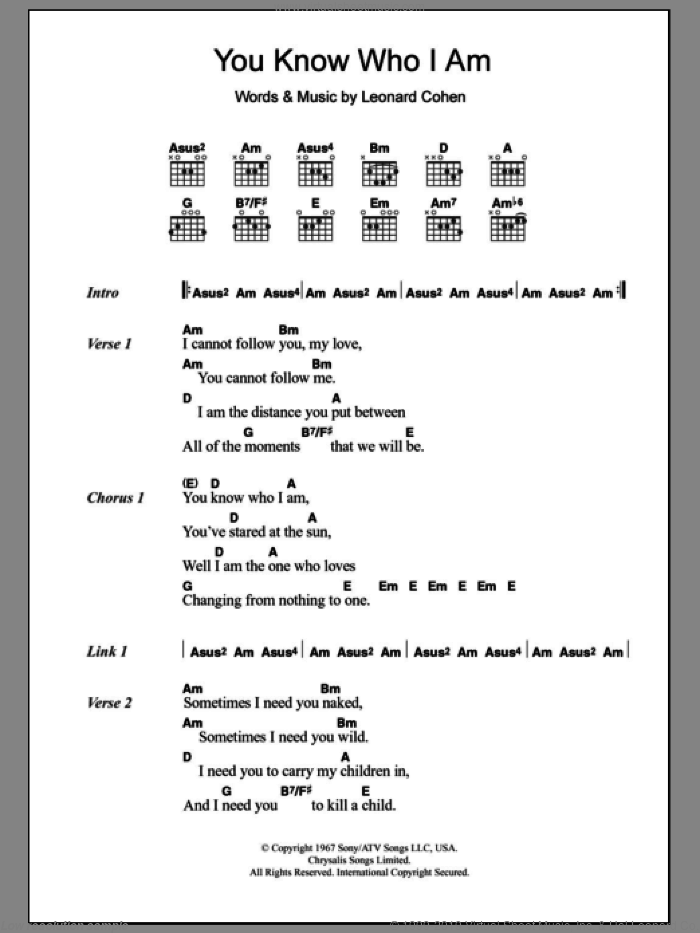 You Know Who I Am sheet music for guitar (chords) by Leonard Cohen, intermediate