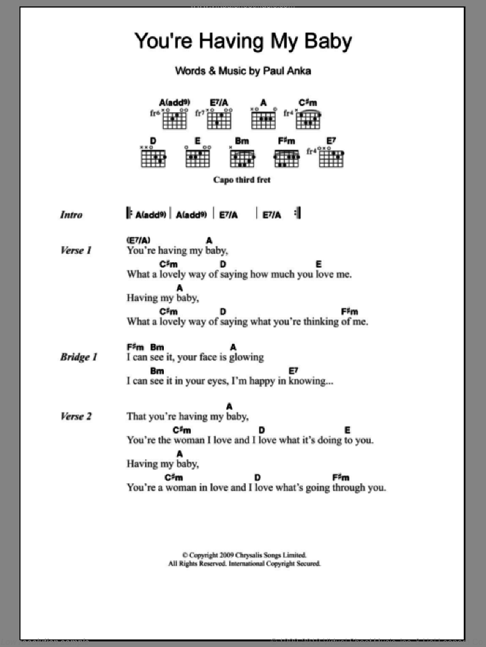 (You're) Having My Baby sheet music for guitar (chords) by Paul Anka. Score Image Preview.