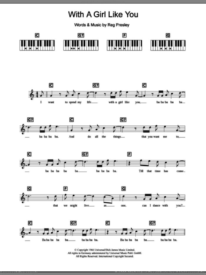 With A Girl Like You sheet music for piano solo (chords, lyrics, melody) by The Troggs, intermediate piano (chords, lyrics, melody). Score Image Preview.