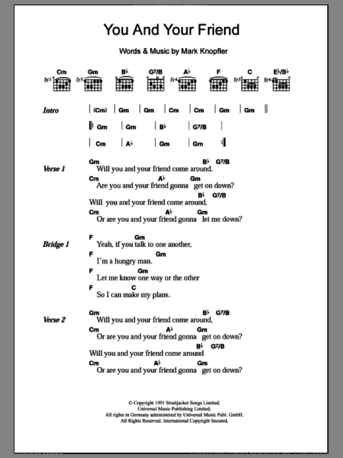 You And Your Friend sheet music for guitar (chords) by Dire Straits and Mark Knopfler. Score Image Preview.