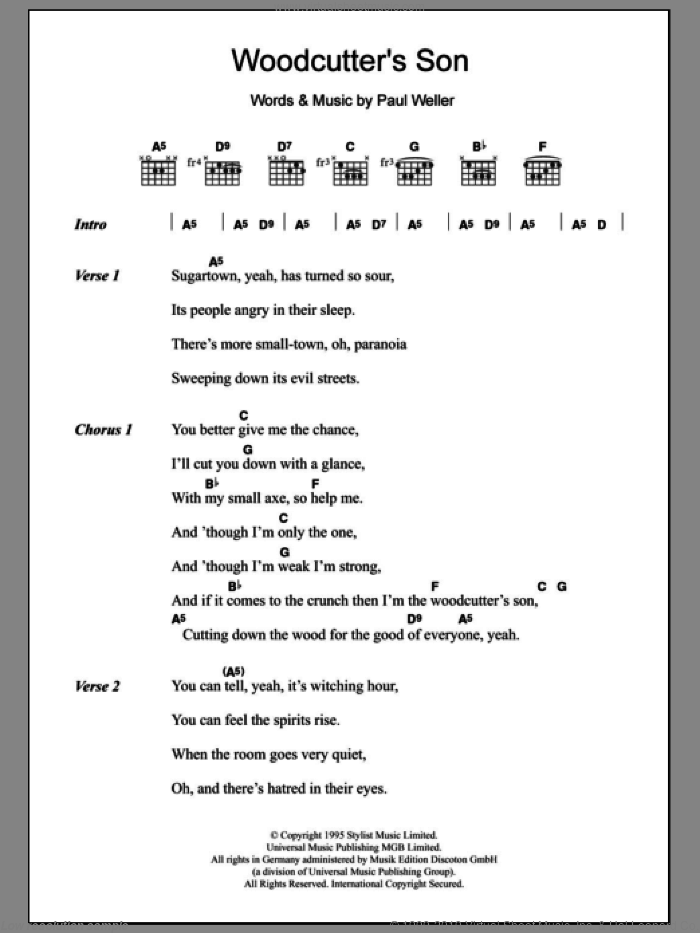 Woodcutter's Son sheet music for guitar (chords) by Paul Weller, intermediate. Score Image Preview.