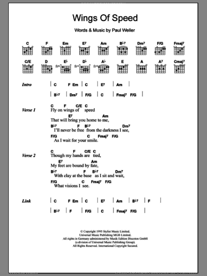 Wings Of Speed sheet music for guitar (chords) by Paul Weller. Score Image Preview.