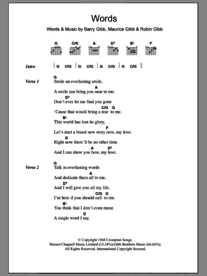 Words sheet music for guitar (chords, lyrics, melody) by Robin Gibb