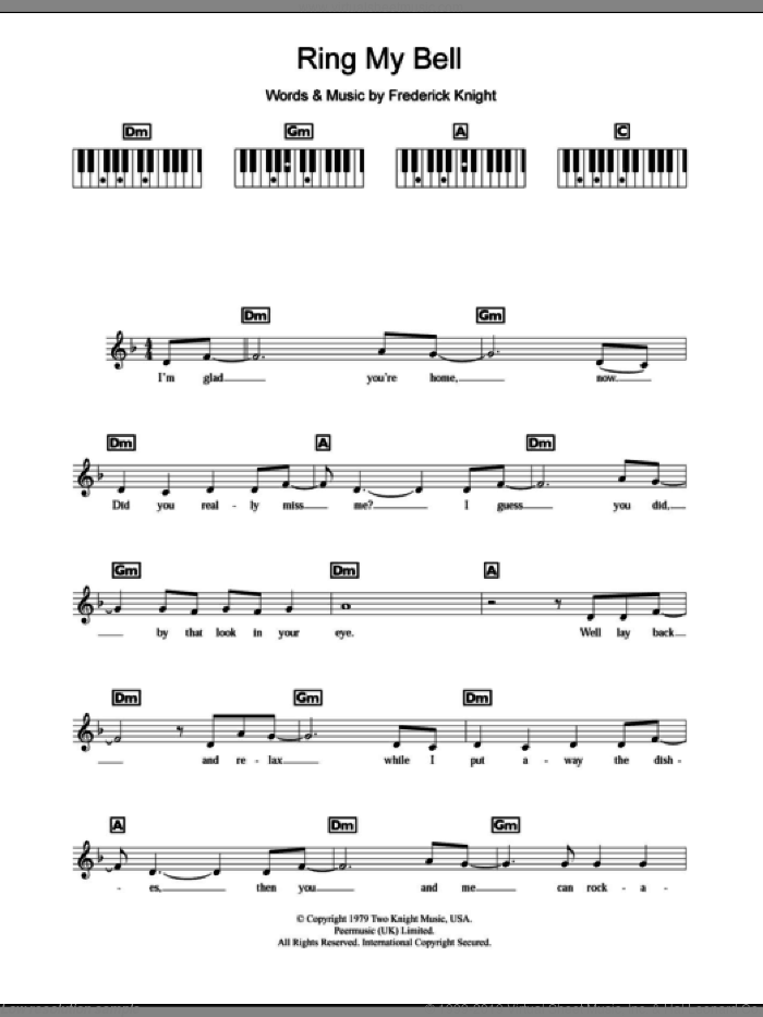 Ring My Bell sheet music for piano solo (chords, lyrics, melody) by Frederick Knight. Score Image Preview.