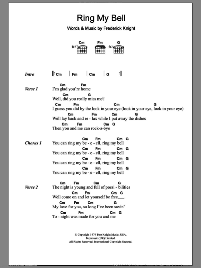 Ring My Bell sheet music for guitar (chords) by Anita Ward and Frederick Knight, intermediate skill level
