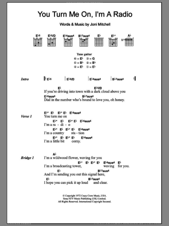 You Turn Me On I'm A Radio sheet music for guitar (chords) by Joni Mitchell