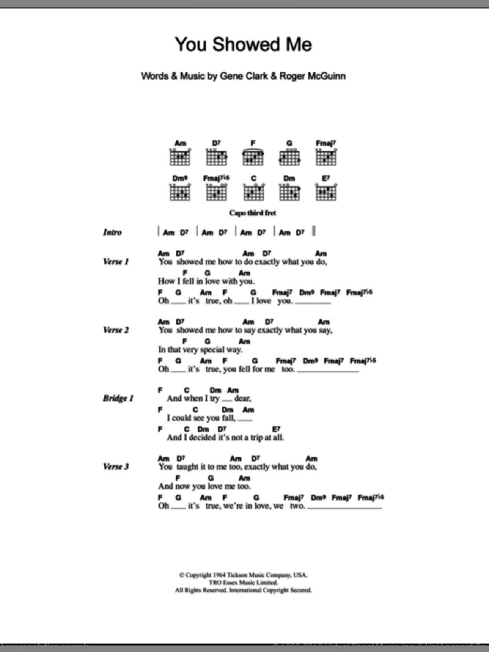 You Showed Me sheet music for guitar (chords) by Roger McGuinn, The Turtles and Gene Clark. Score Image Preview.