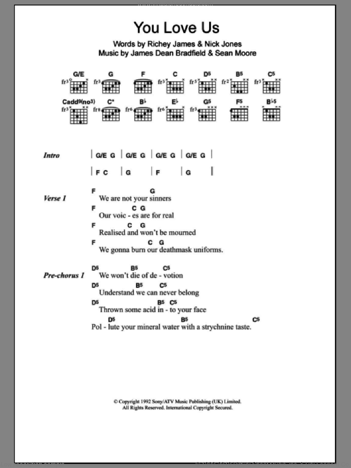 You Love Us sheet music for guitar (chords) by The Manic Street Preachers and James Dean Bradfield. Score Image Preview.