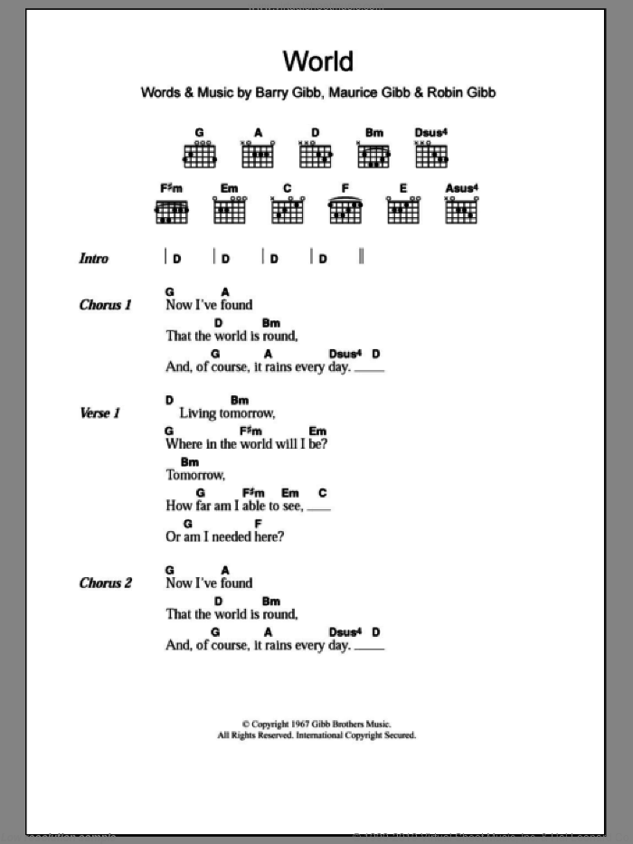 World sheet music for guitar (chords) by Robin Gibb, Bee Gees, Barry Gibb and Maurice Gibb. Score Image Preview.