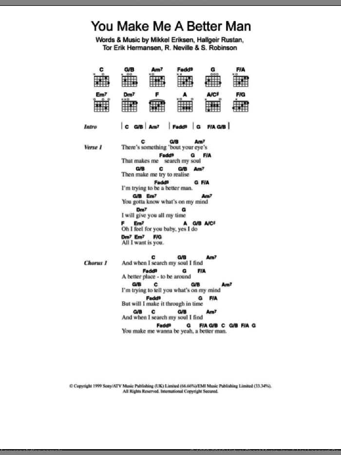 You Make Me A Better Man sheet music for guitar (chords) by Tor Erik Hermansen, Ben Folds Five, Mikkel Eriksen and Sylvia Robinson. Score Image Preview.
