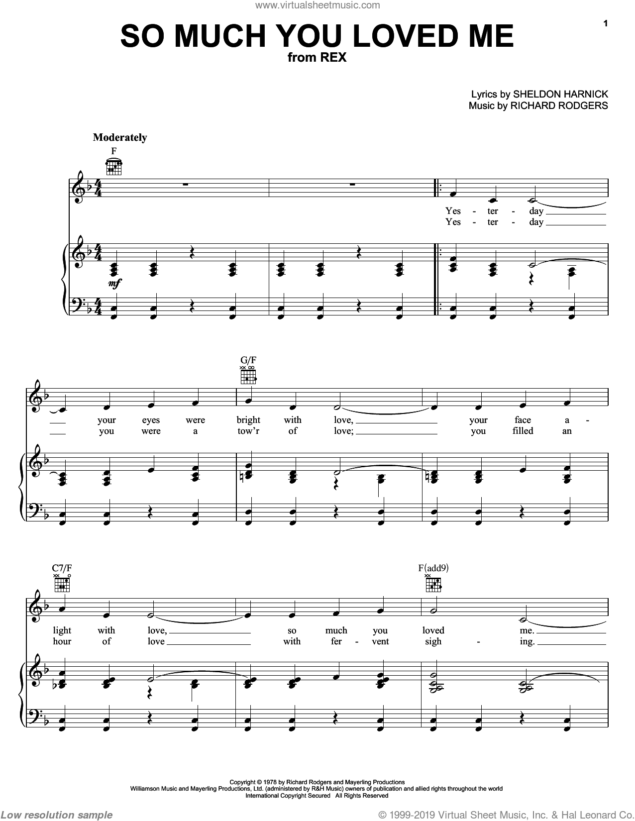 So Much You Loved Me sheet music for voice, piano or guitar by Sheldon Harnick and Richard Rodgers