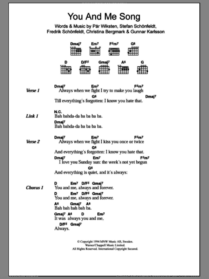 You And Me Song sheet music for guitar (chords) by The Wannadies, intermediate guitar (chords). Score Image Preview.