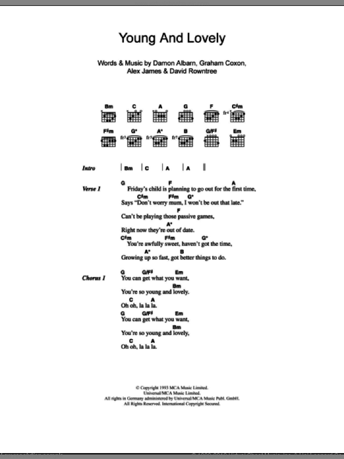 Young And Lovely sheet music for guitar (chords, lyrics, melody) by Graham Coxon