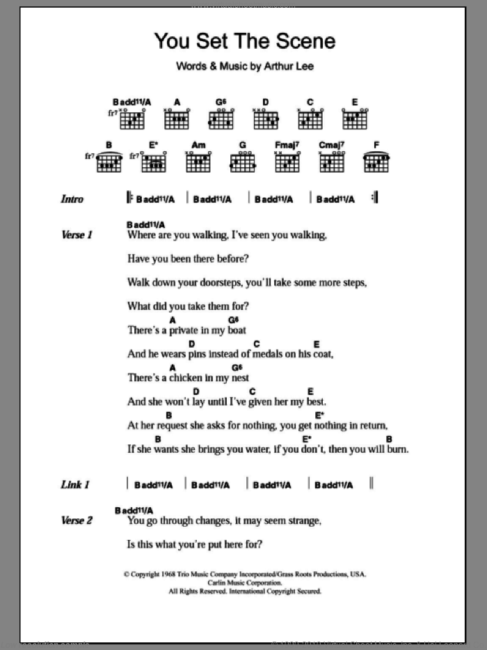 Love - You Set The Scene sheet music for guitar (chords) [PDF]