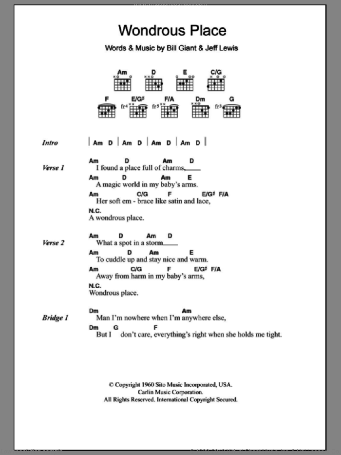 Wondrous Place sheet music for guitar (chords) by Billy Fury. Score Image Preview.