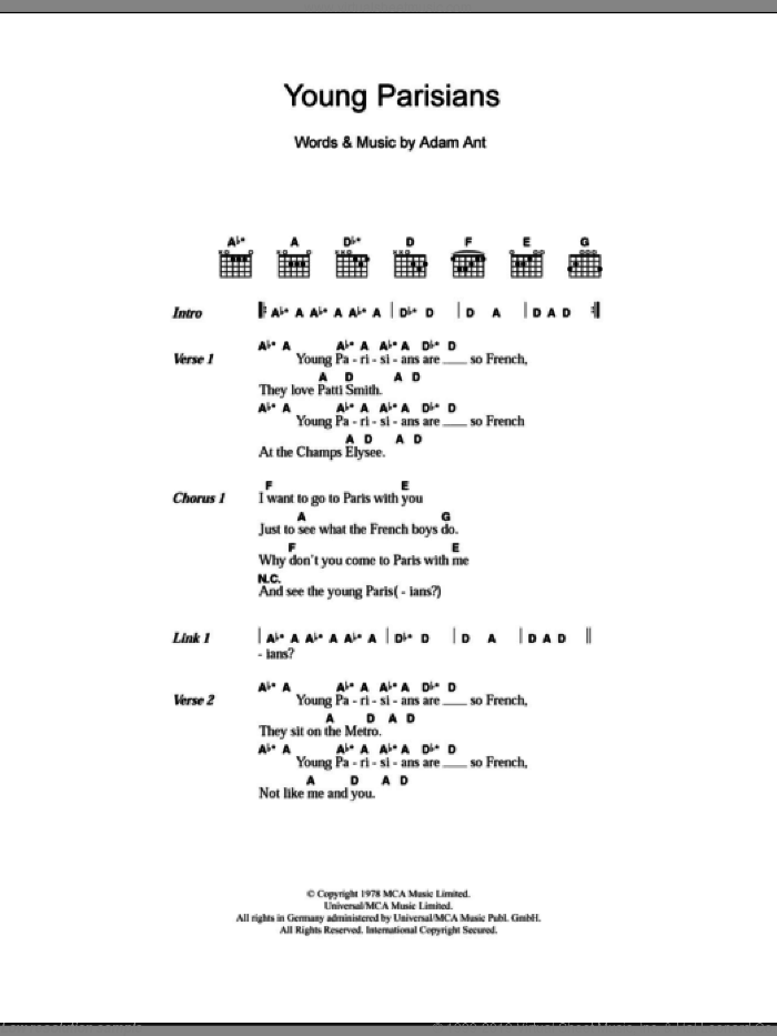 Young Parisians sheet music for guitar (chords) by Adam & The Ants and Adam Ant, intermediate. Score Image Preview.