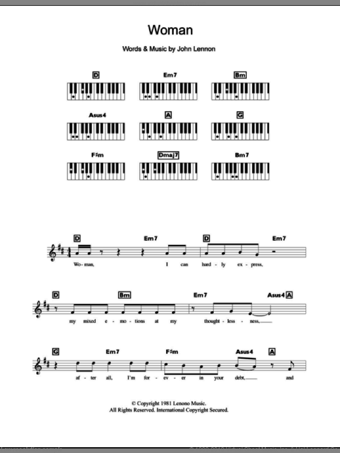 Woman sheet music for piano solo (chords, lyrics, melody) by John Lennon. Score Image Preview.