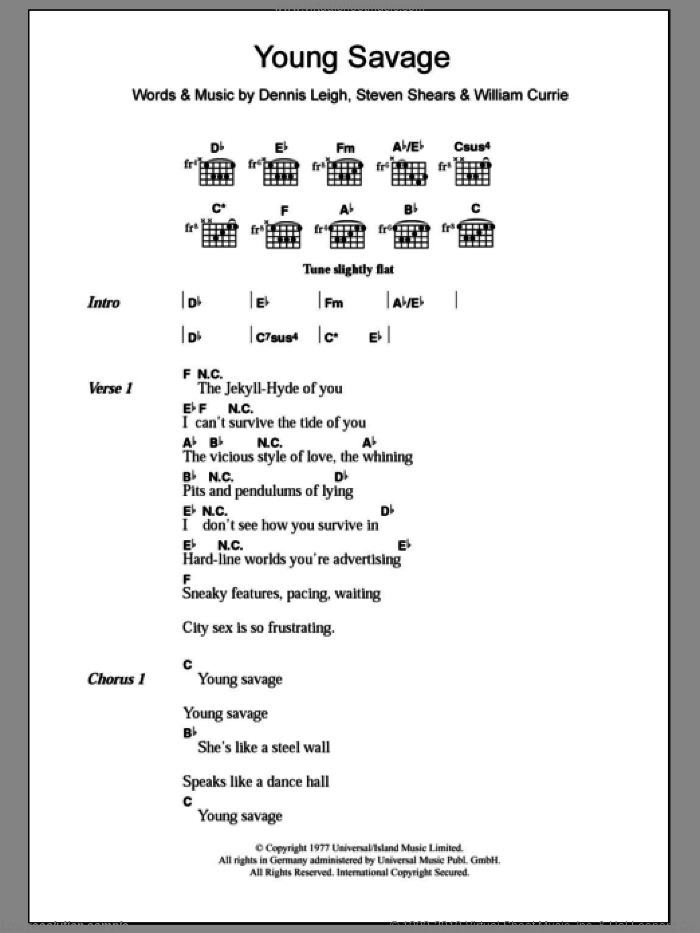 Young Savage sheet music for guitar (chords) by Billy Currie