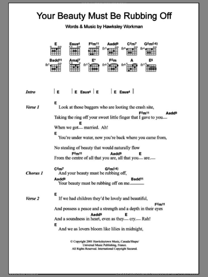 Your Beauty Must Be Rubbing Off sheet music for guitar (chords) by Hawksley Workman. Score Image Preview.
