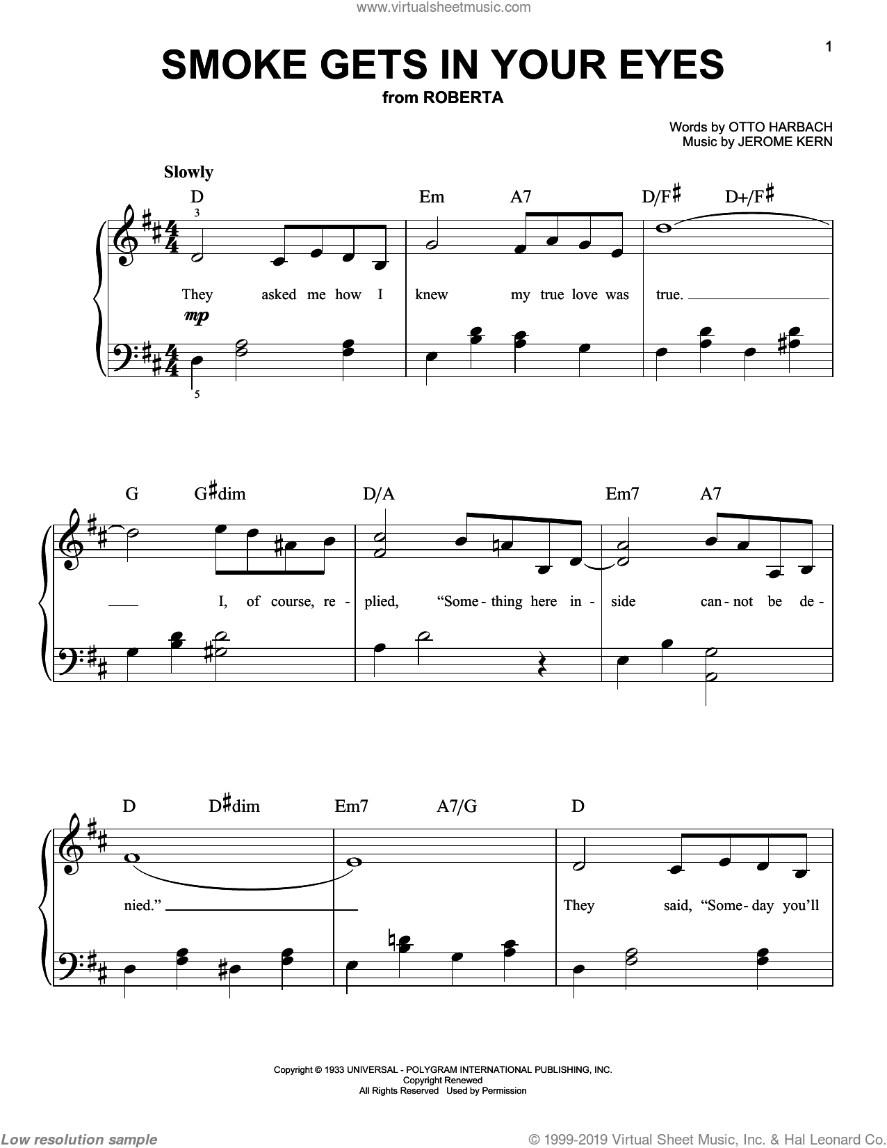 Smoke Gets In Your Eyes sheet music for piano solo by Jerome Kern, The Platters and Otto Harbach, easy skill level