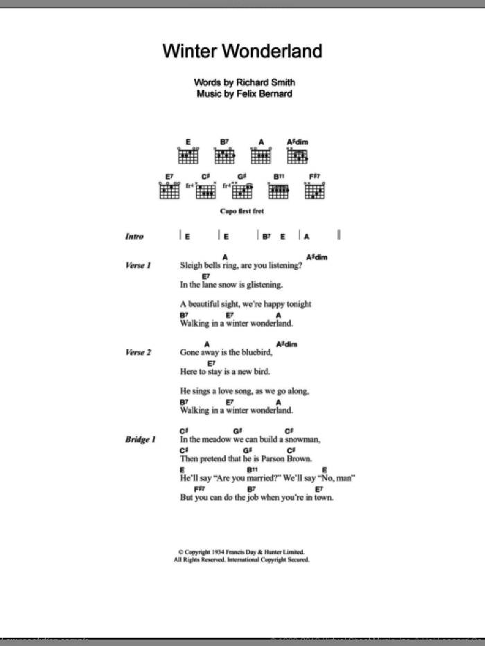 Winter Wonderland sheet music for guitar (chords) by Richard Smith, Johnny Mathis and Felix Bernard, intermediate. Score Image Preview.