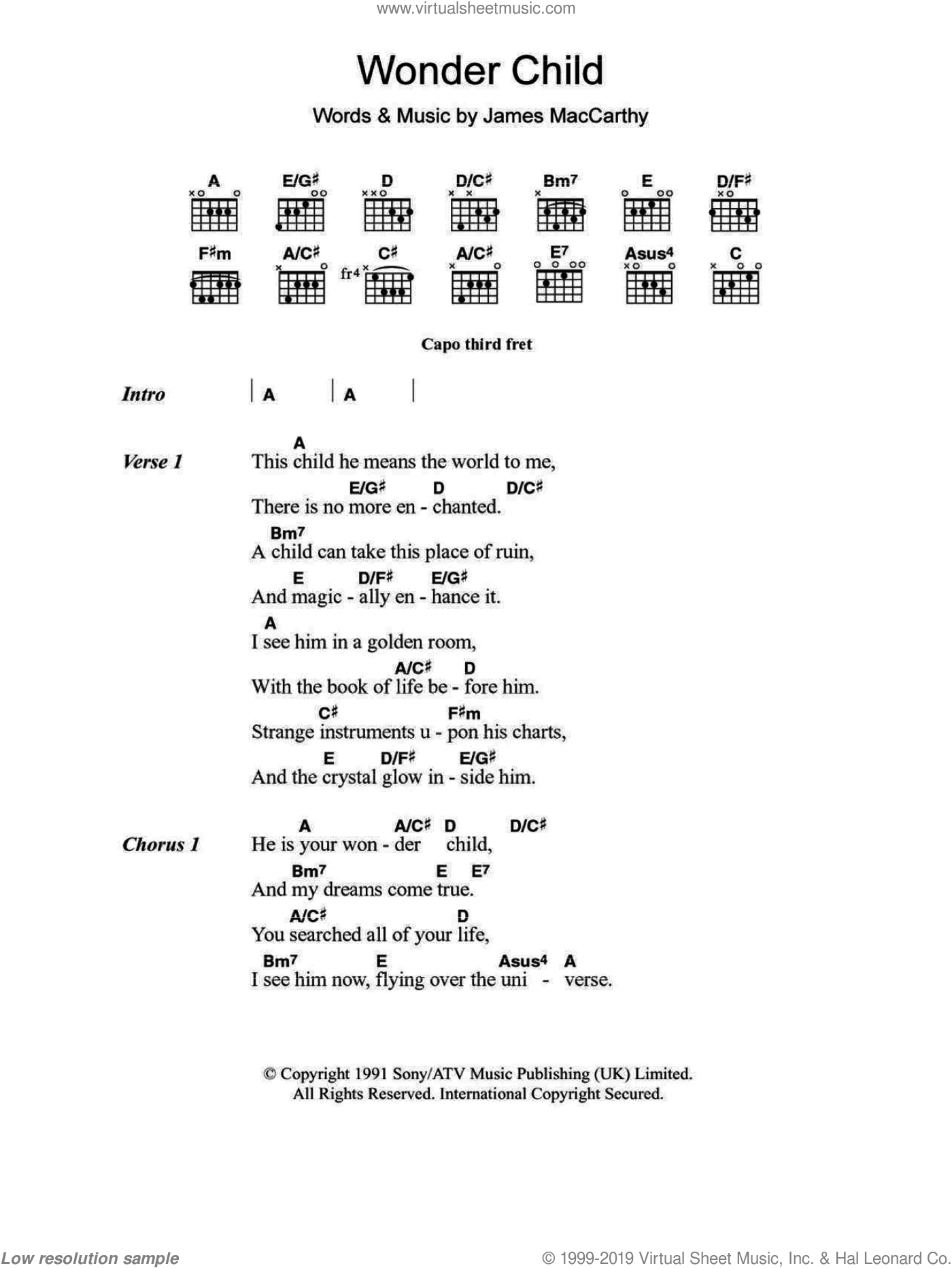 Wonder Child sheet music for guitar (chords, lyrics, melody) by Jimmy MacCarthy