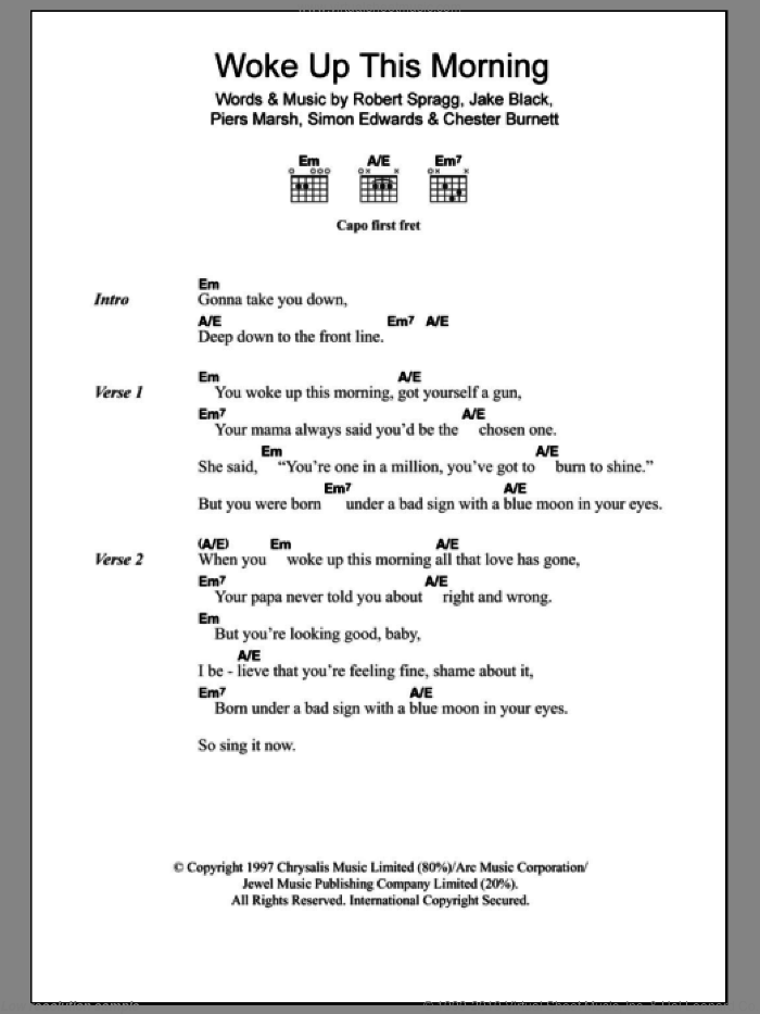 Woke Up This Morning sheet music for guitar (chords, lyrics, melody) by Simon Edwards