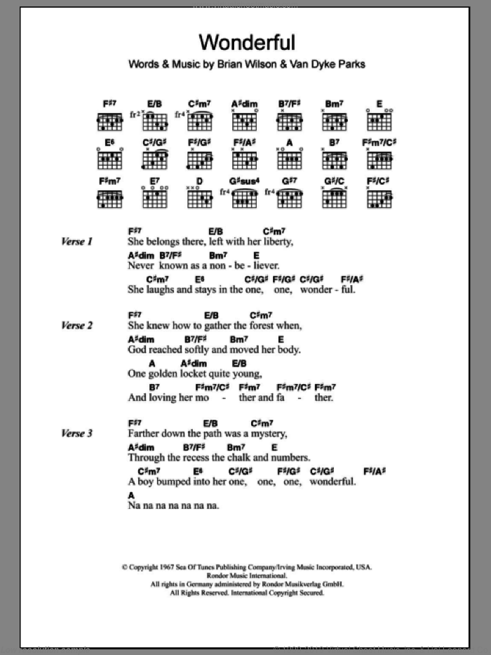 Wonderful sheet music for guitar (chords) by The Beach Boys and Brian Wilson. Score Image Preview.
