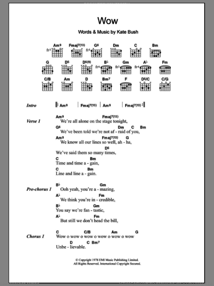 Wow sheet music for guitar (chords) by Kate Bush, intermediate. Score Image Preview.