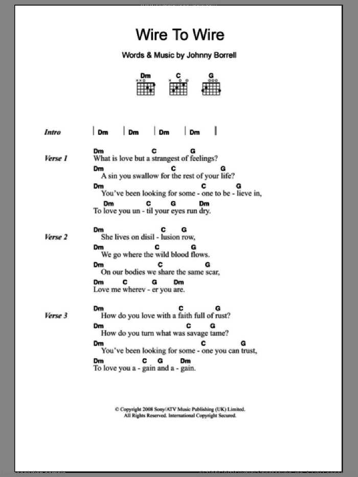 Wire To Wire sheet music for guitar (chords) by Johnny Borrell. Score Image Preview.
