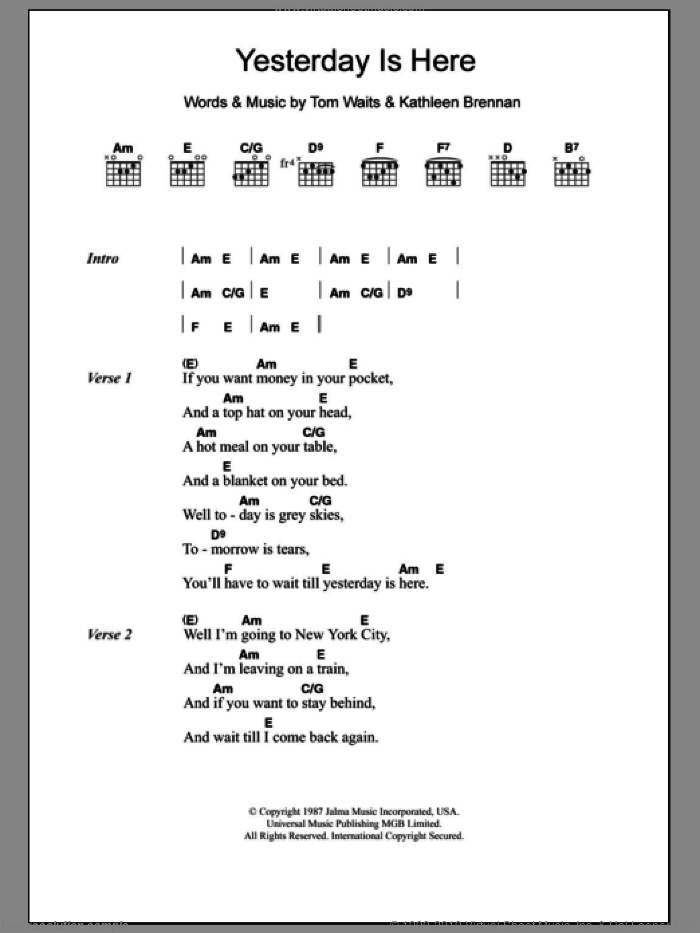 Yesterday Is Here sheet music for guitar (chords) by Kathleen Brennan and Tom Waits. Score Image Preview.