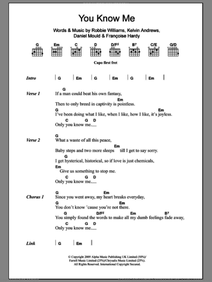 You Know Me sheet music for guitar (chords) by Kelvin Andrews and Robbie Williams. Score Image Preview.
