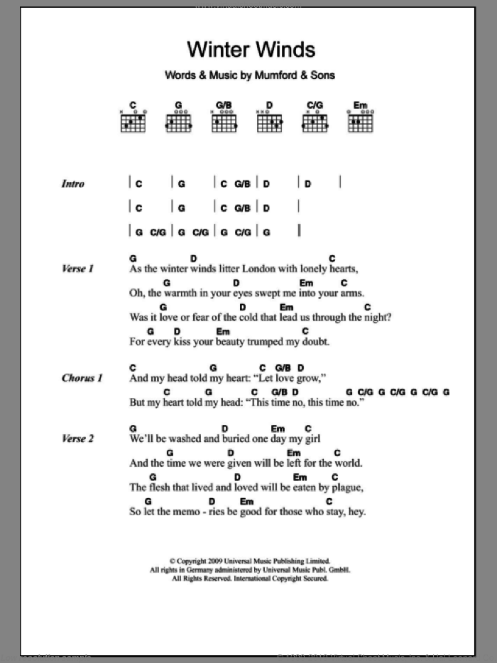 Winter Winds sheet music for guitar (chords) by Mumford & Sons. Score Image Preview.