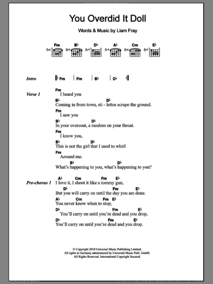 You Overdid It Doll sheet music for guitar (chords) by The Courteeners