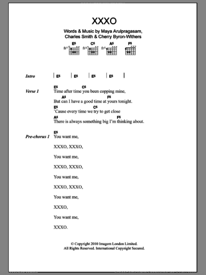 XXXO sheet music for guitar (chords) by Maya Arulpragasam