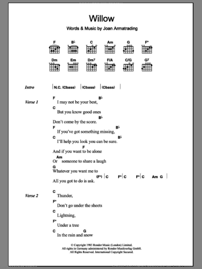 Willow sheet music for guitar (chords) by Joan Armatrading. Score Image Preview.