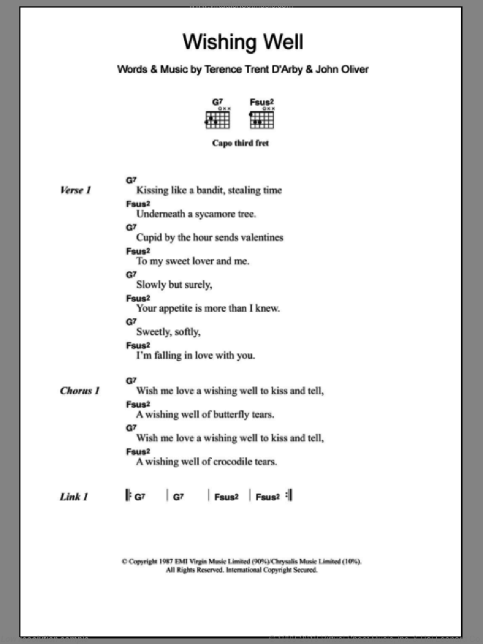 Wishing Well sheet music for guitar (chords) by John Oliver. Score Image Preview.