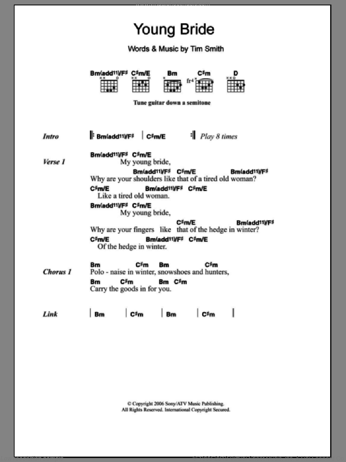 Young Bride sheet music for guitar (chords) by Midlake and Tim Smith, intermediate. Score Image Preview.