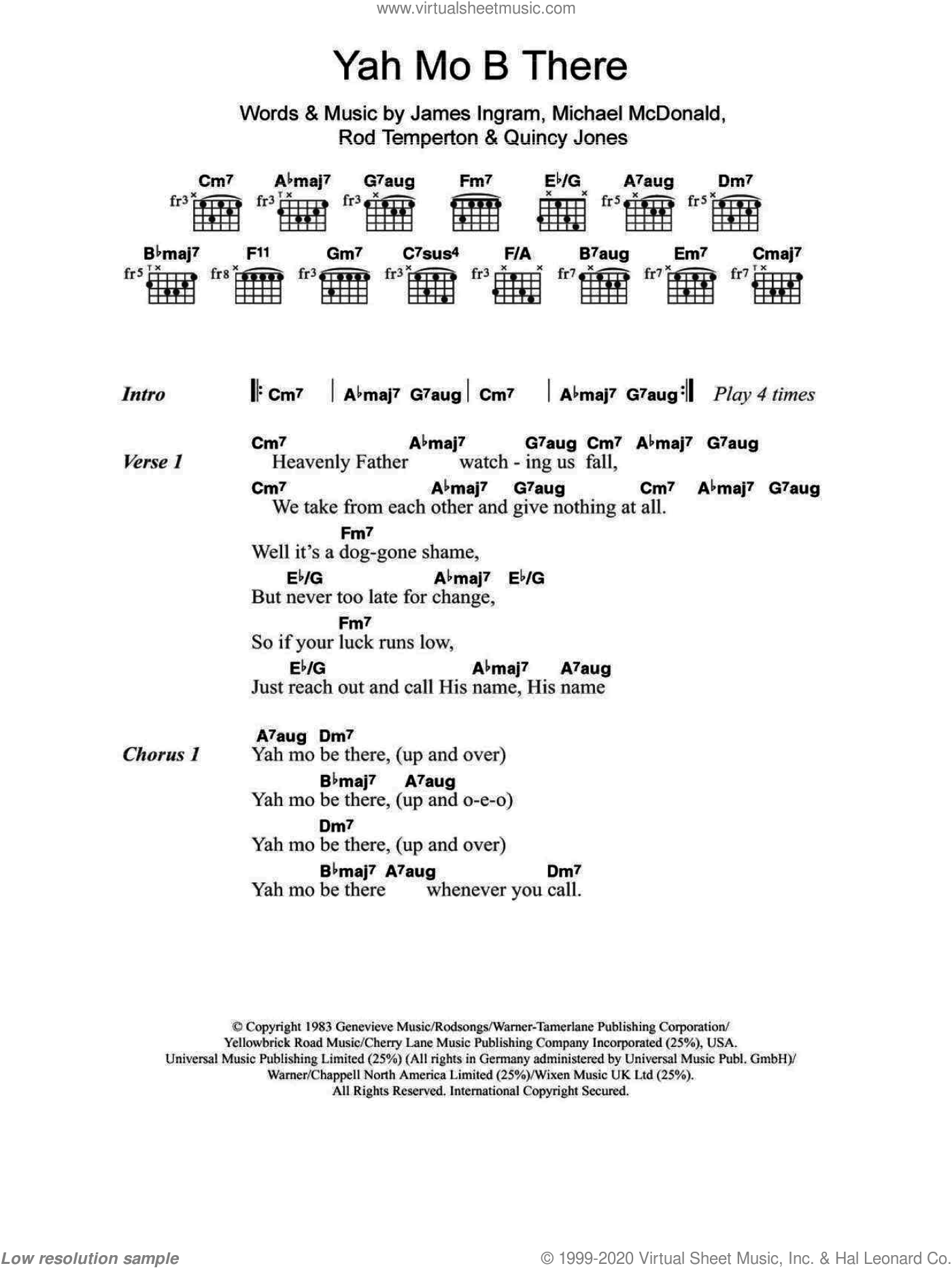 Yah Mo B There sheet music for guitar (chords, lyrics, melody) by Rod Temperton