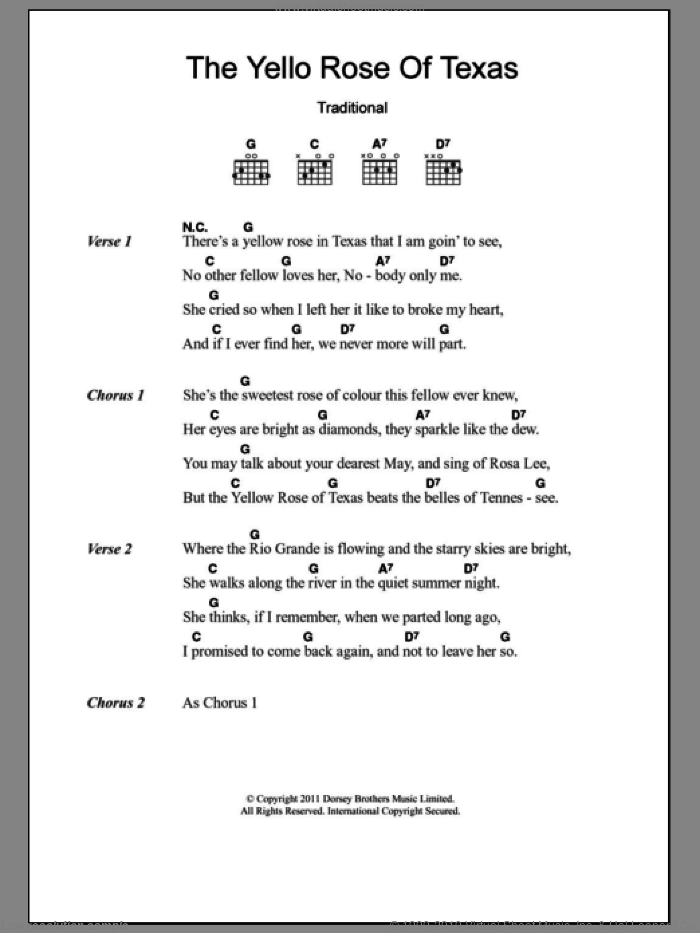 The Yellow Rose Of Texas Sheet Music For Guitar Chords Pdf
