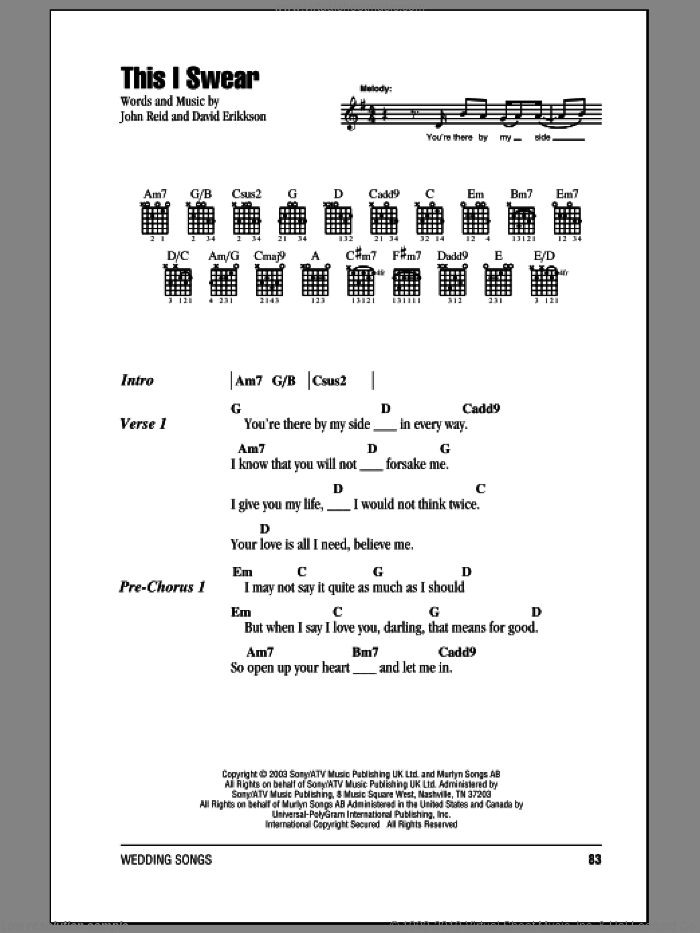 This I Swear sheet music for guitar (chords) by David Eriksen and John Reid. Score Image Preview.