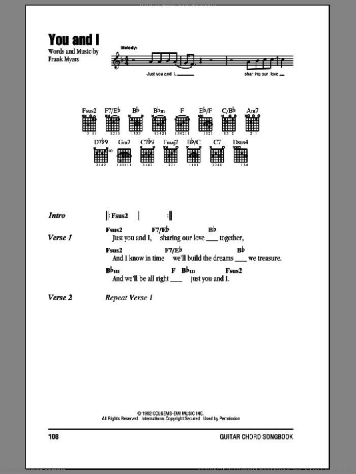 You And I sheet music for guitar (chords) by Eddie Rabbitt with Crystal Gayle and Frank Myers, wedding score, intermediate skill level
