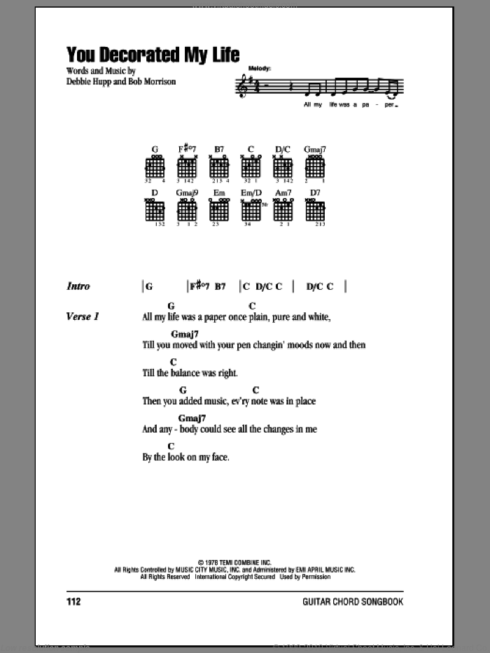You Decorated My Life sheet music for guitar (chords) by Debbie Hupp