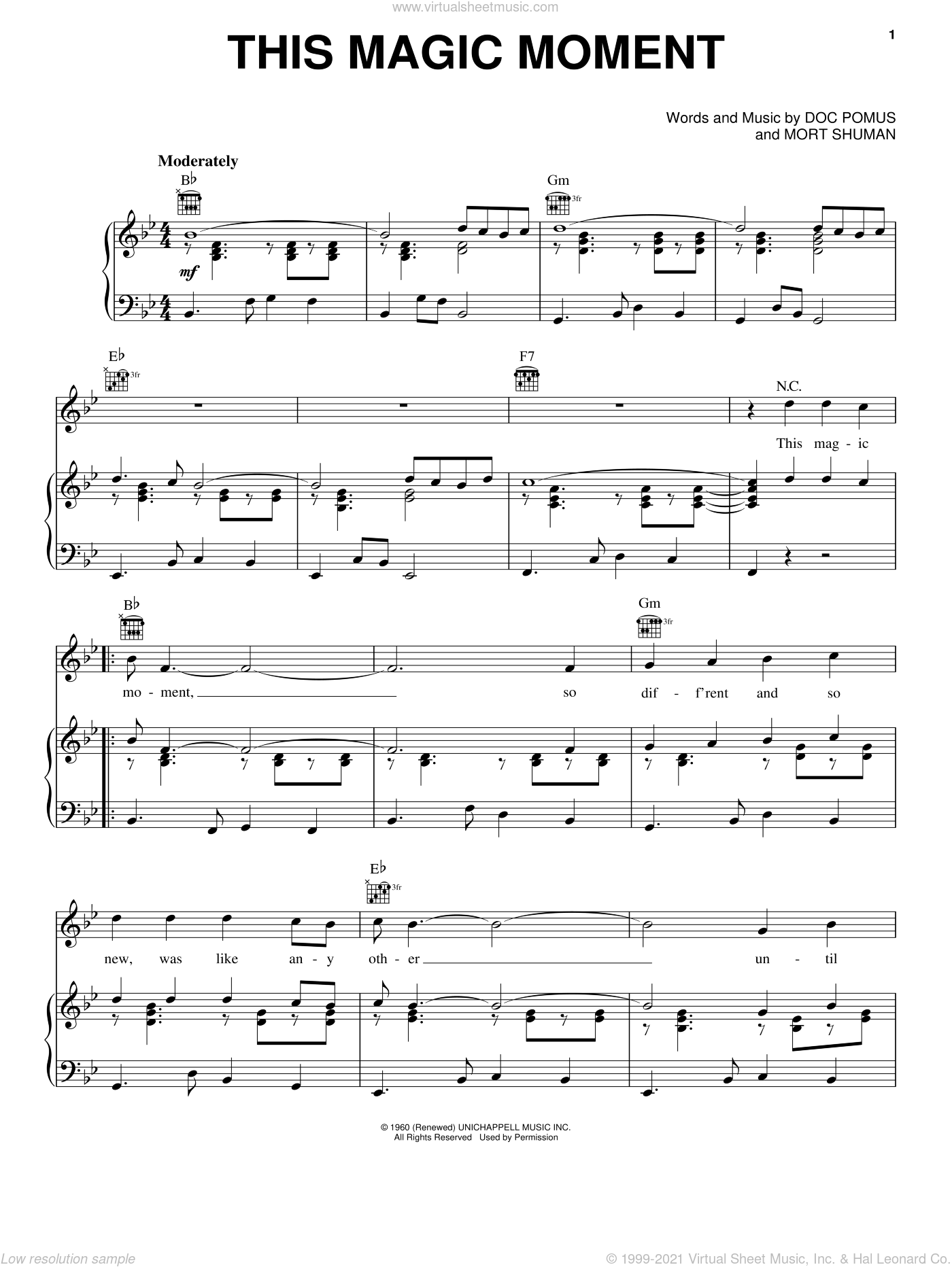 This Magic Moment sheet music for voice, piano or guitar by Jay & The Americans, Doc Pomus and Mort Shuman. Score Image Preview.