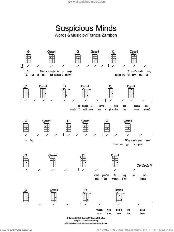 Suspicious Minds sheet music for ukulele (chords) by Elvis Presley and Francis Zambon, intermediate