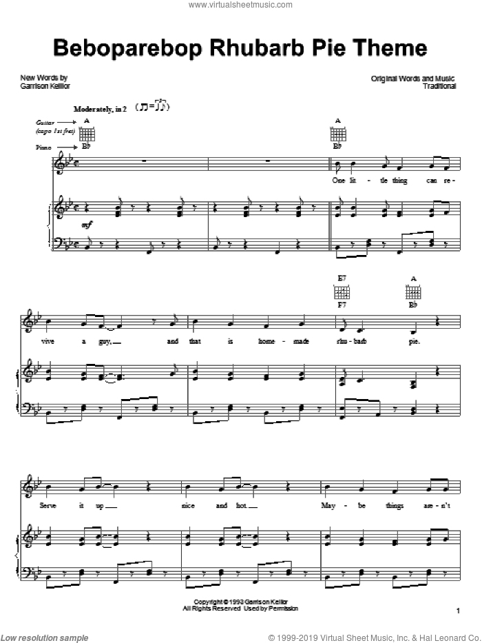 Beboparebop Rhubarb Pie Theme sheet music for voice, piano or guitar  and Garrison Keillor. Score Image Preview.