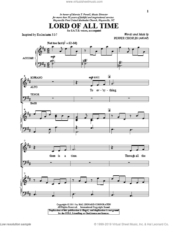Lord Of All Time sheet music for choir (SATB: soprano, alto, tenor, bass) by Pepper Choplin, intermediate skill level